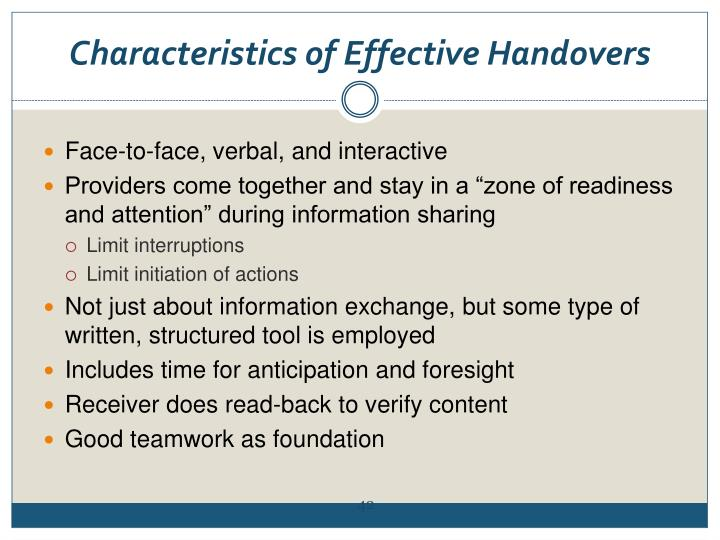 Characteristics of Effective Handovers