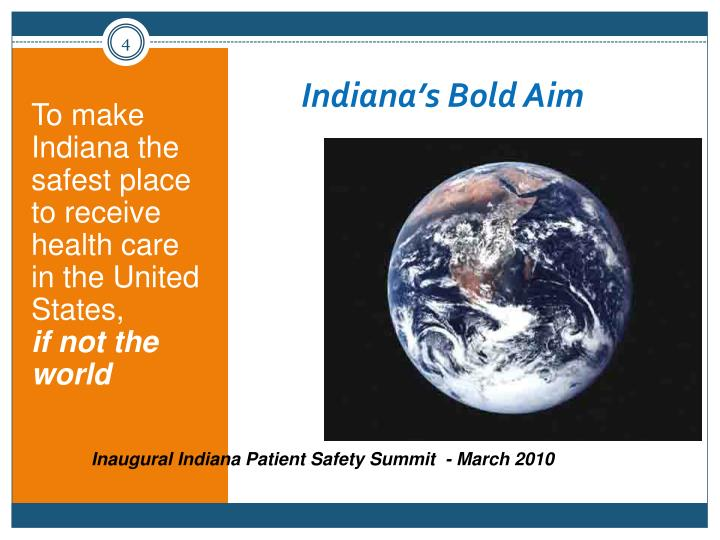 To make Indiana the safest place to receive health care in the United States,