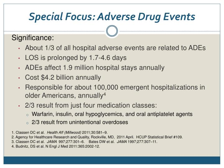 Special Focus: Adverse Drug Events