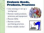 evaluate needs products practices
