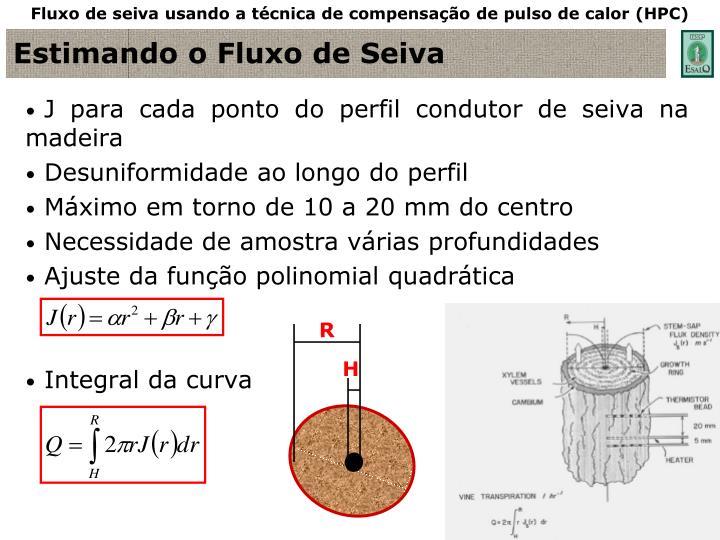 Fluxo de seiva usando a técnica de compensação de pulso de calor (HPC)