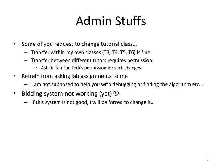Admin stuffs