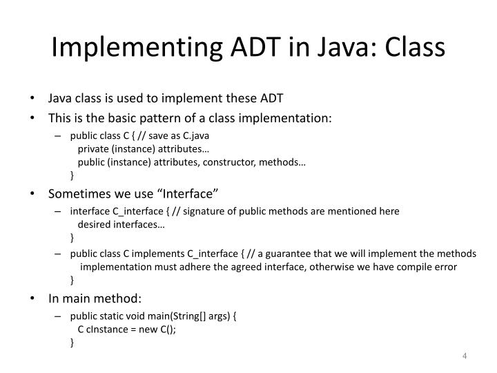 Implementing ADT in Java: Class