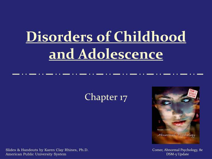 disorders of childhood and adolescence n.