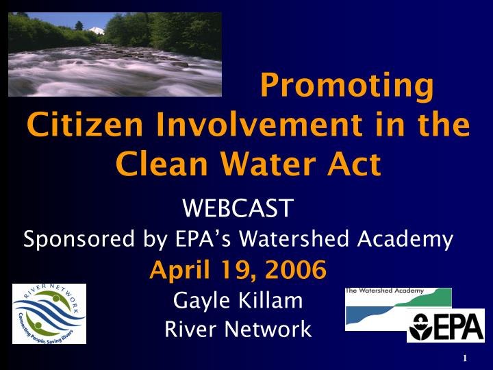 promoting citizen involvement in the clean water act n.