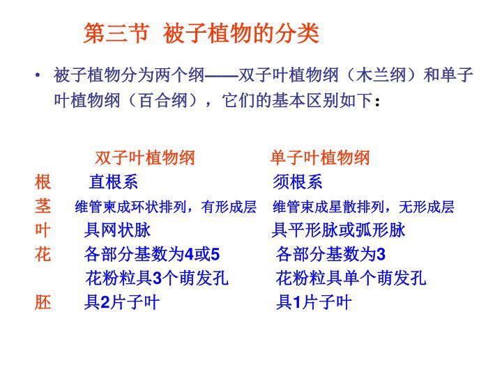 第三节  被子植物的分类