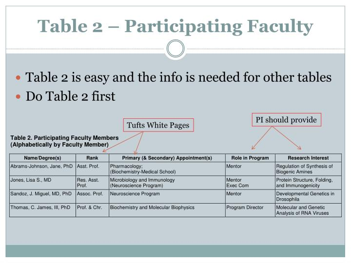 Table 2 – Participating Faculty