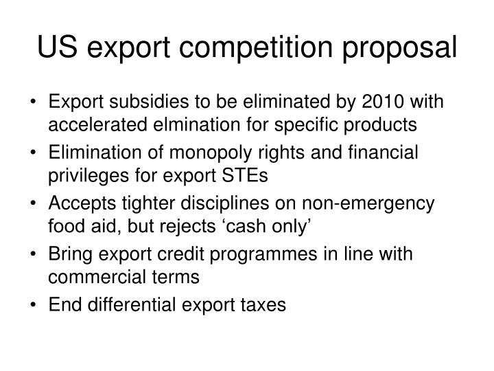 US export competition proposal