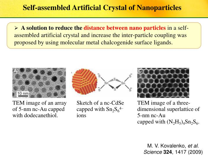 TEM image of an array of 5-nm nc-Au capped with dodecanethiol.