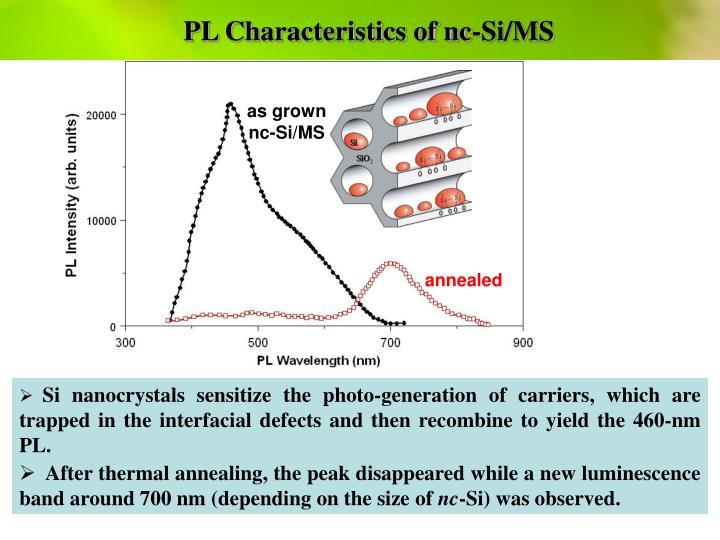 PL Characteristics of nc-Si/MS