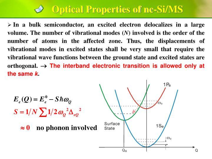 Optical Properties of nc-Si/MS