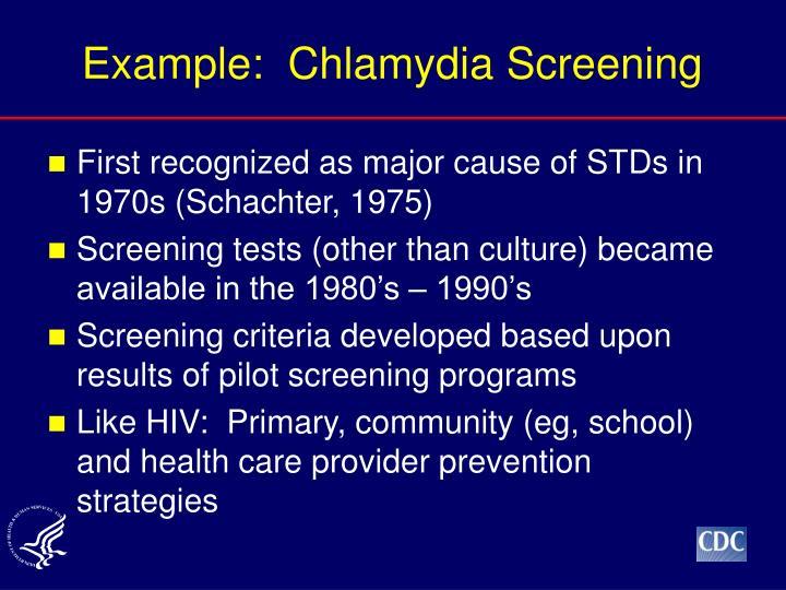 Example:  Chlamydia Screening