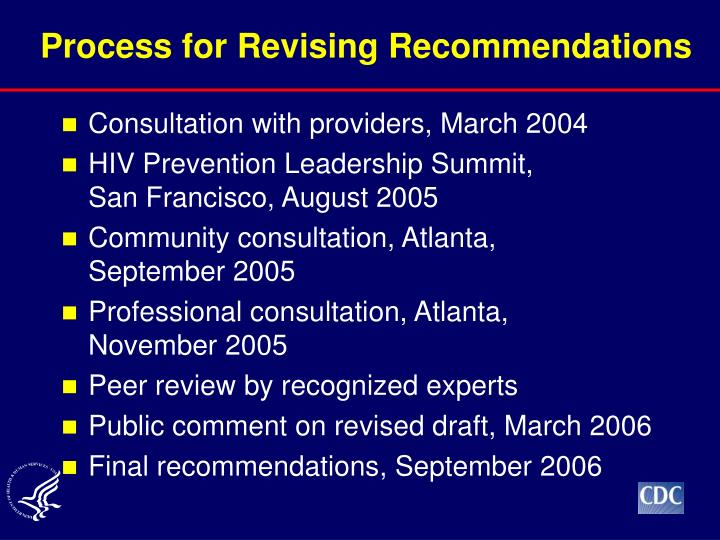 Process for Revising Recommendations