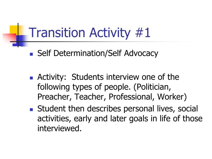 transition activity 1 n.