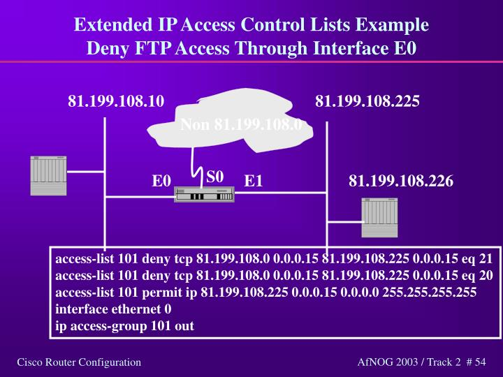 Extended IP Access Control Lists Example