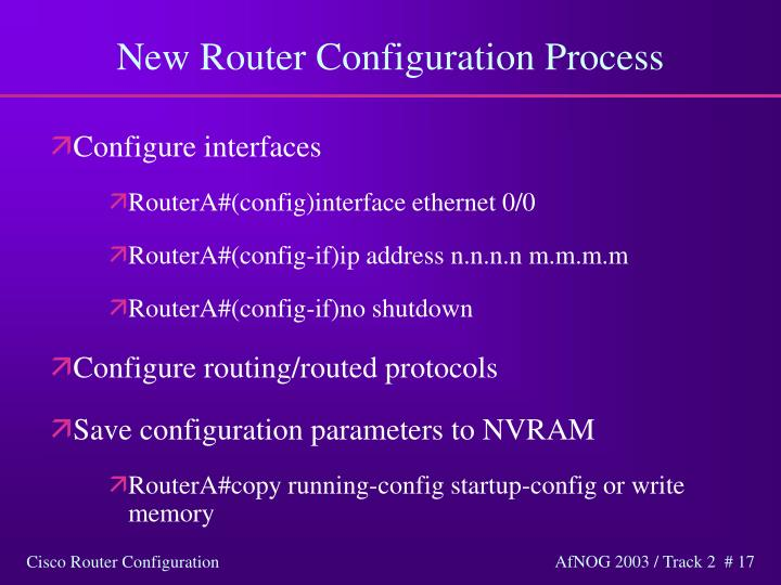 New Router Configuration Process