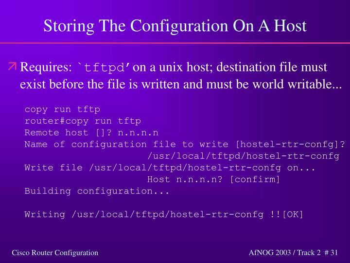 Storing The Configuration On A Host