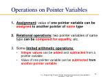 operations on pointer variables