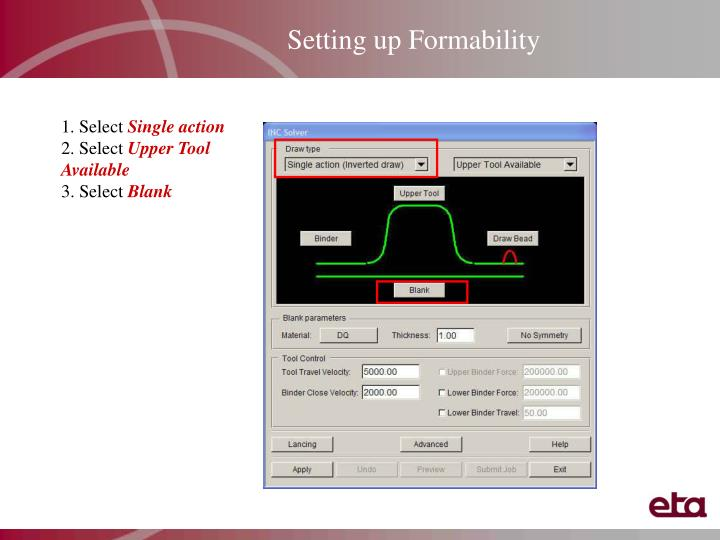 Setting up Formability