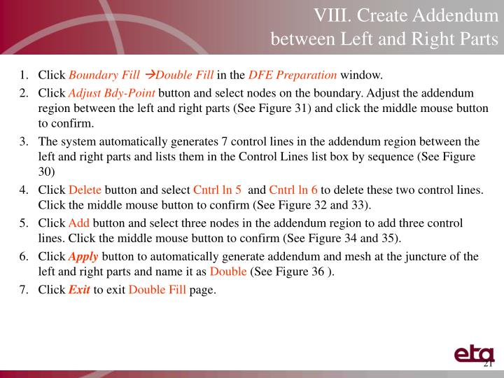 VIII. Create Addendum