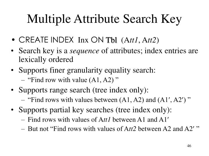 Multiple Attribute Search Key
