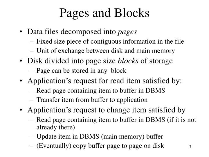 Pages and blocks
