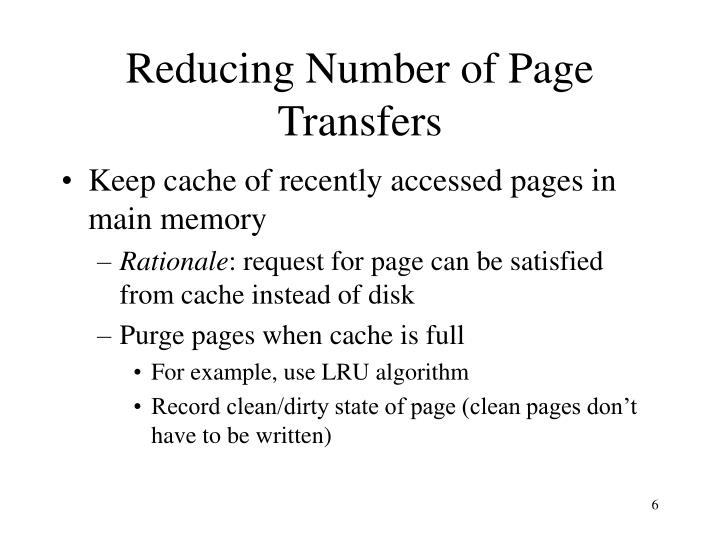 Reducing Number of Page Transfers