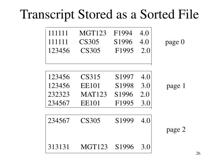 Transcript Stored as a Sorted File