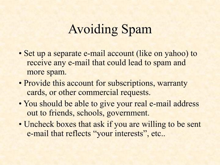 Avoiding Spam