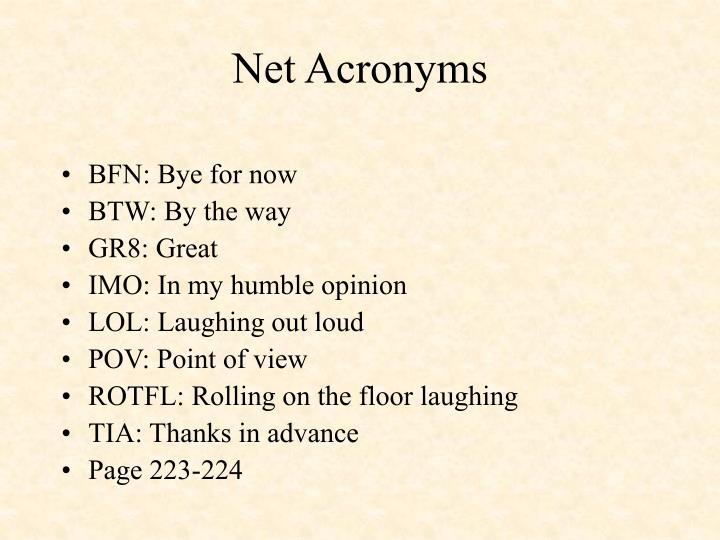 Net Acronyms