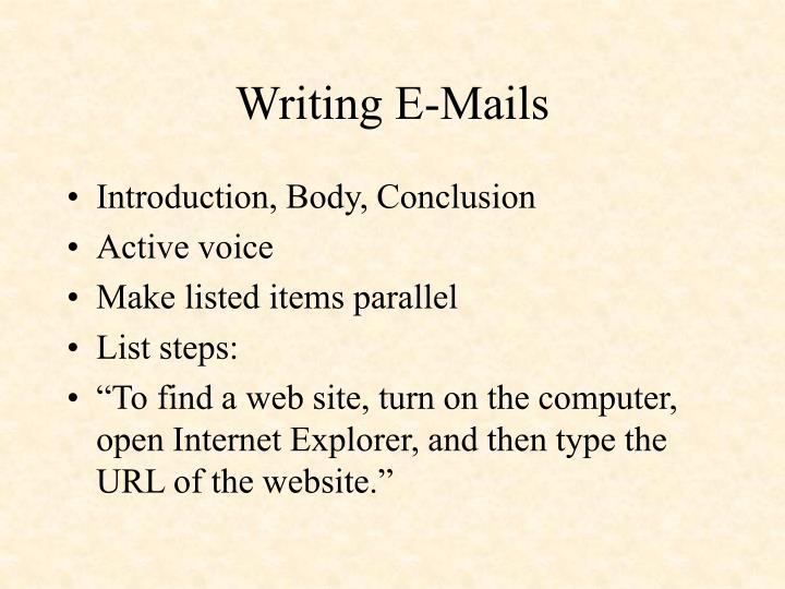 Writing E-Mails
