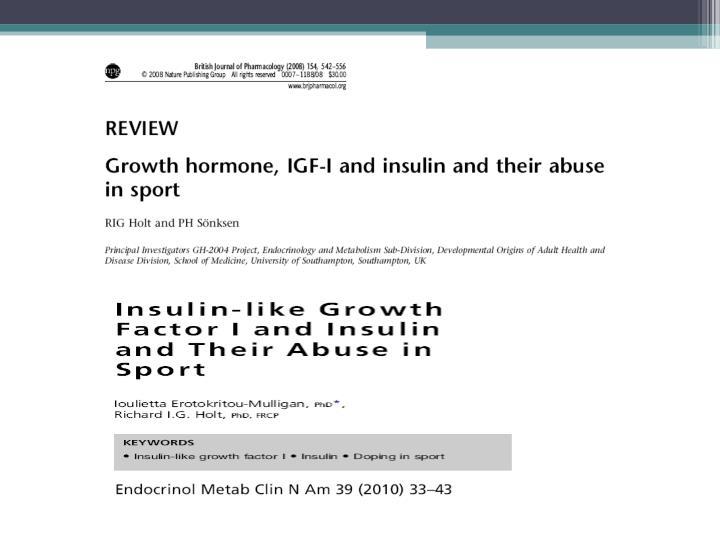 Abuso de insulina e igf 1 no esporte