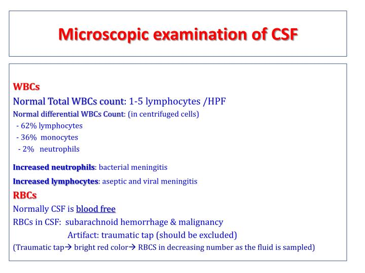 Microscopic examination of CSF