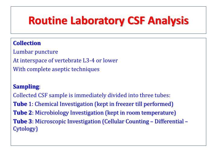 Routine Laboratory CSF Analysis