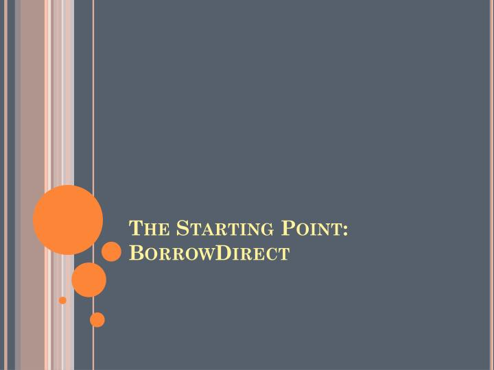 The Starting Point: