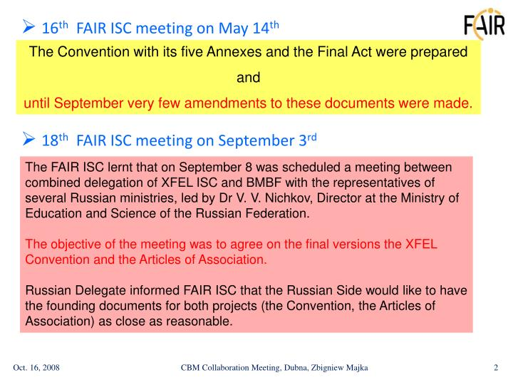 16 th fair isc meeting on may 14 th