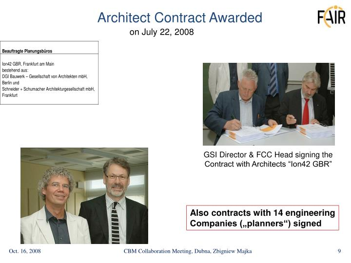 Architect Contract Awarded