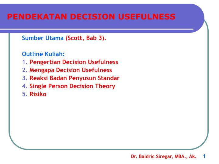 pendekatan decision usefulness n.