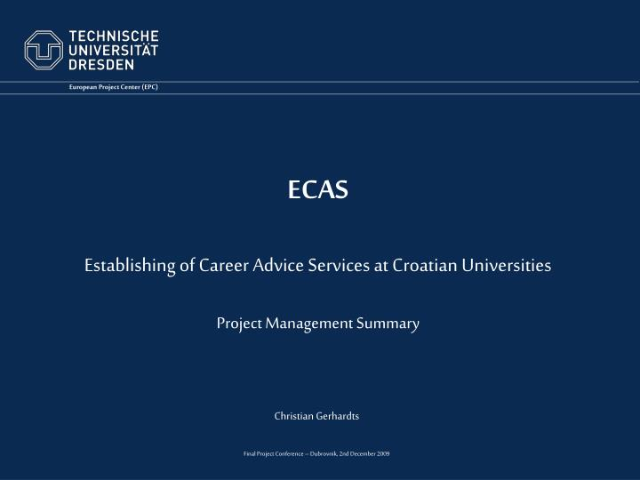 ecas establishing of career advice services at croatian universities project management summary