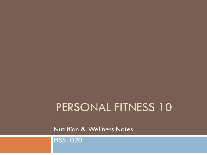personal fitness 10 n.