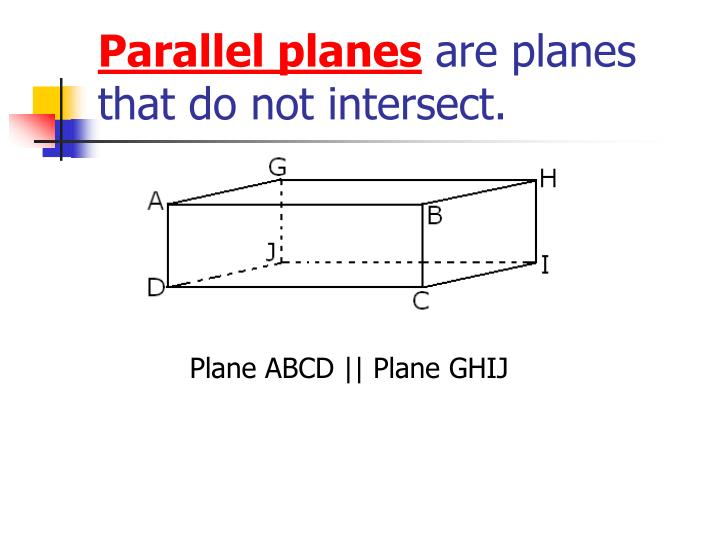 Parallel planes