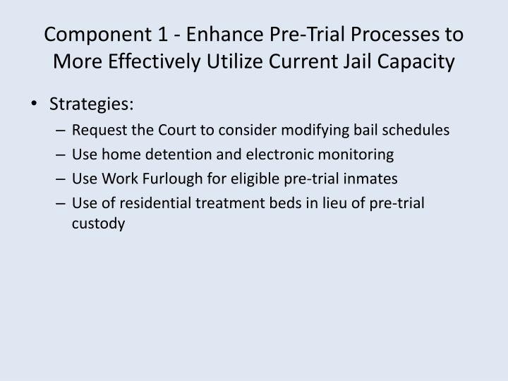 Component 1 - Enhance Pre-Trial Processes to More Effectively Utilize Current Jail Capacity
