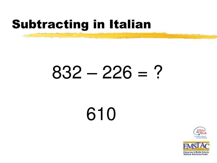 Subtracting in Italian