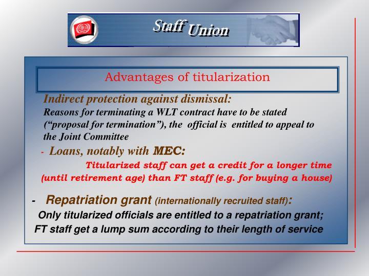 Advantages of titularization