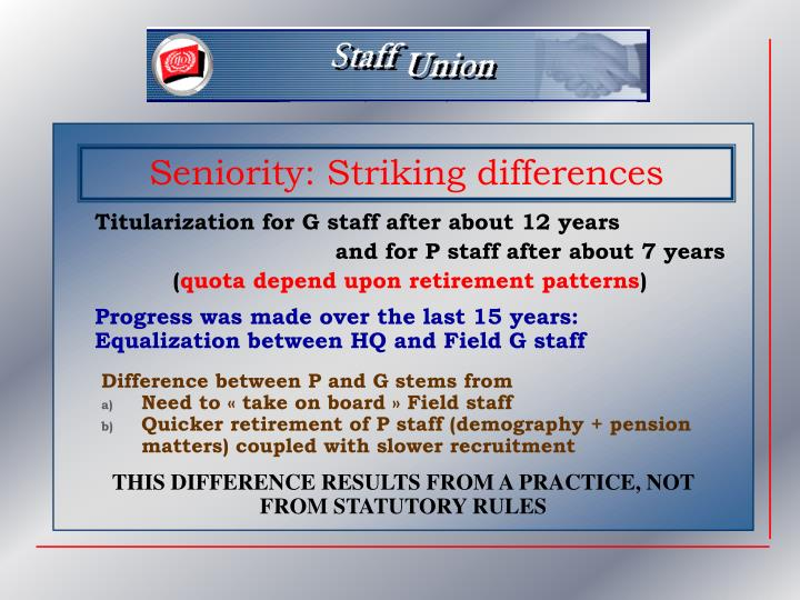 Seniority: Striking differences