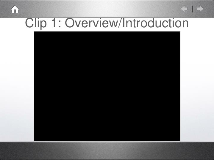 Clip 1: Overview/Introduction