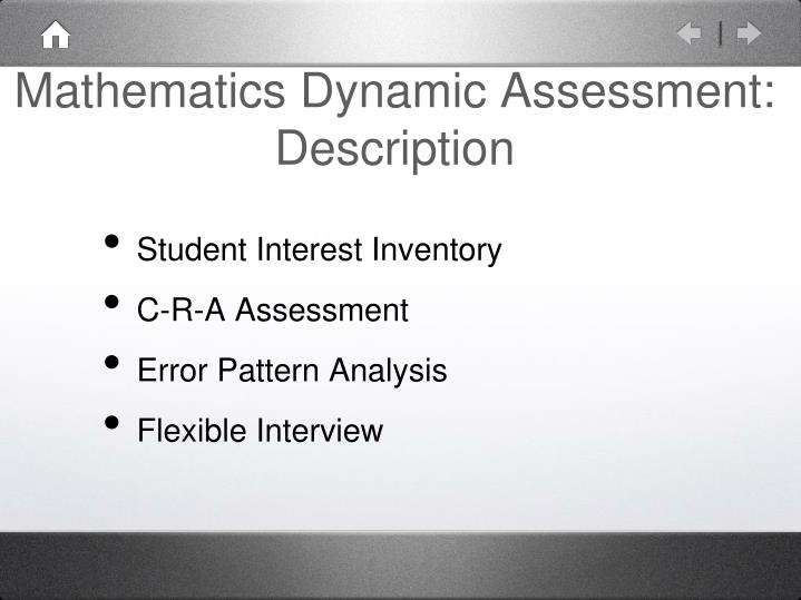 Mathematics Dynamic Assessment: Description