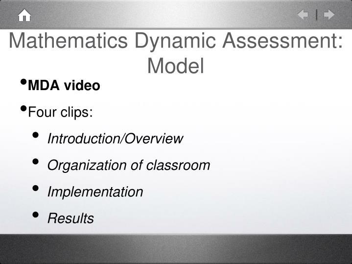 Mathematics Dynamic Assessment: Model