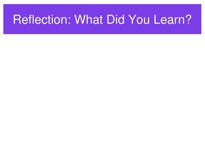Reflection: What Did You Learn?