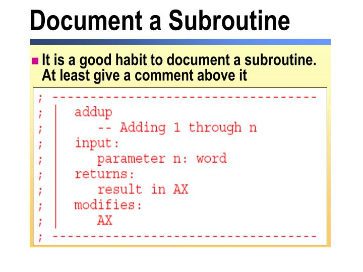 Document a Subroutine